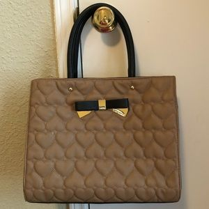 Betsey Johnson Quilted Hearts Tan/Black Large Bag